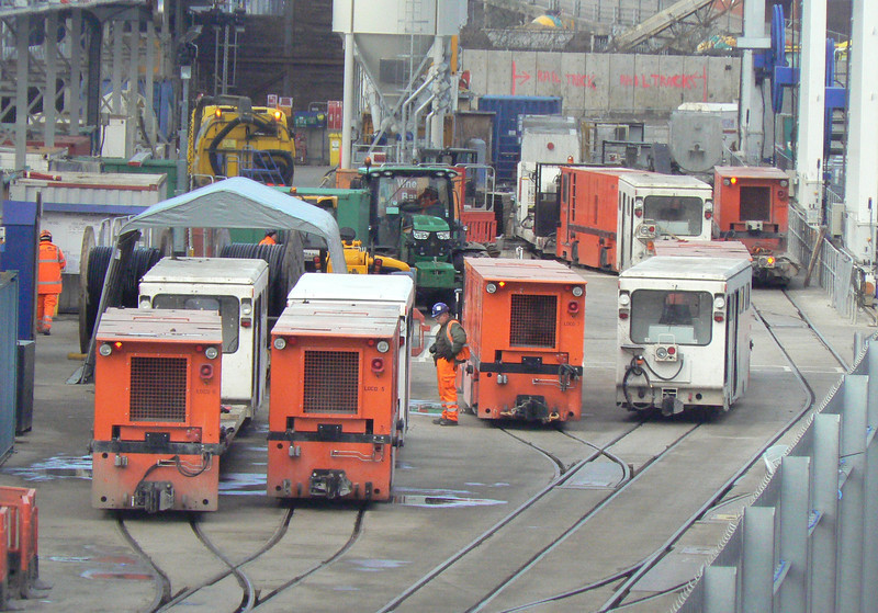 Another view of the narrow gauge Crossrail works yard at Royal Oak (see also my album from 6th January), with Schoema locos 6, 5, 7 and 4 (left to right) identifiable, along with 2 other unidentified locos. Sunday 13th January 2013.