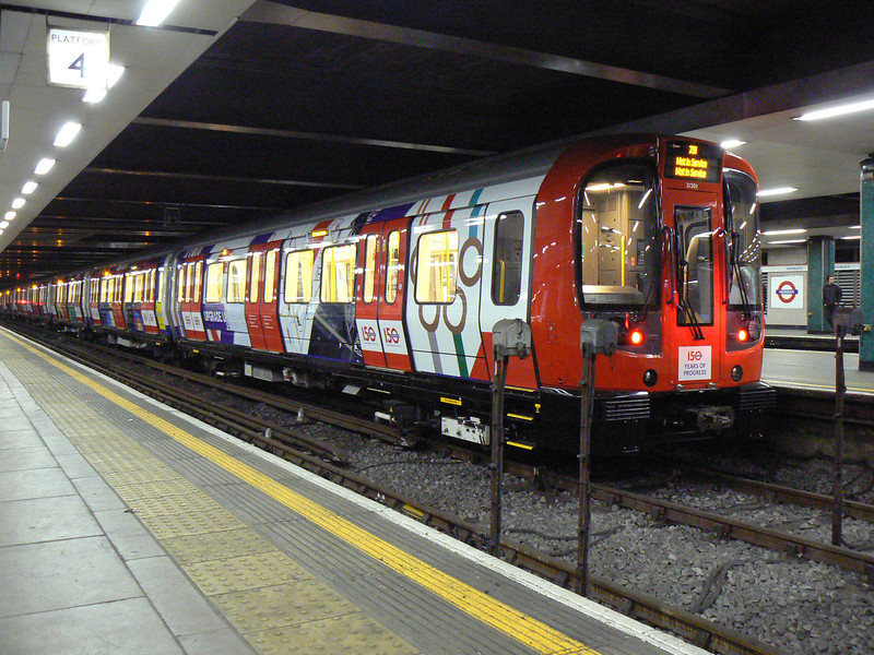 The first S7 train, 21301 and 21302 is seen at Moorgate in a special LT 150 livery. The unit was stabled here all day for promotional work. Sunday 13th January 2013.
