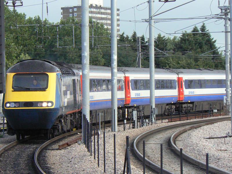 An East Midlands Trains Class 43 arrives at St Pancras. Fri 20th August 2010.