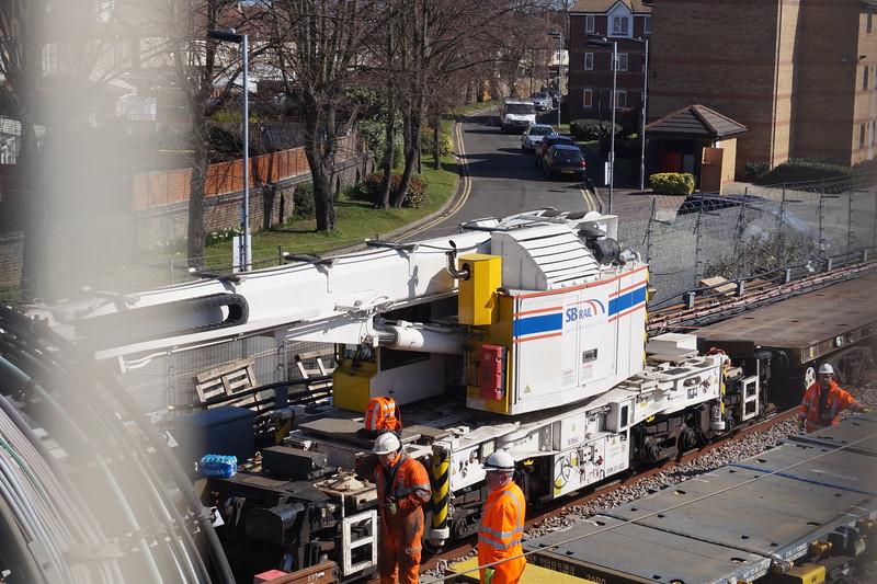 SB Rail 25 tonne crane 81623 at Barking on engineering work. Friday 25th March 2016.