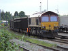 66063 is seen in Acton Yard with Didcot to Acton large box wagons. Wed 11th May 2011.