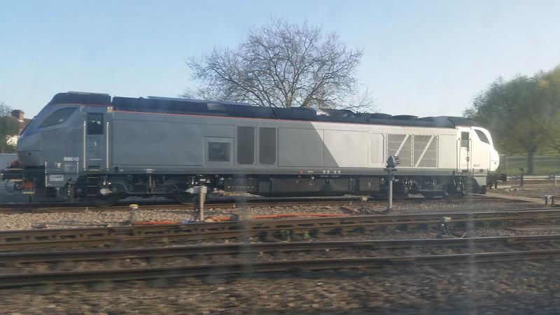 68010 at Wembley Depot. Wednesday 15th April 2015.