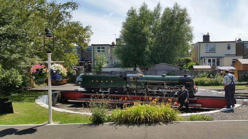 Romney, Hythe & Dymchurch Railway 'Typhoon' on the turntable at Hythe. Saturday 1st August 2015.