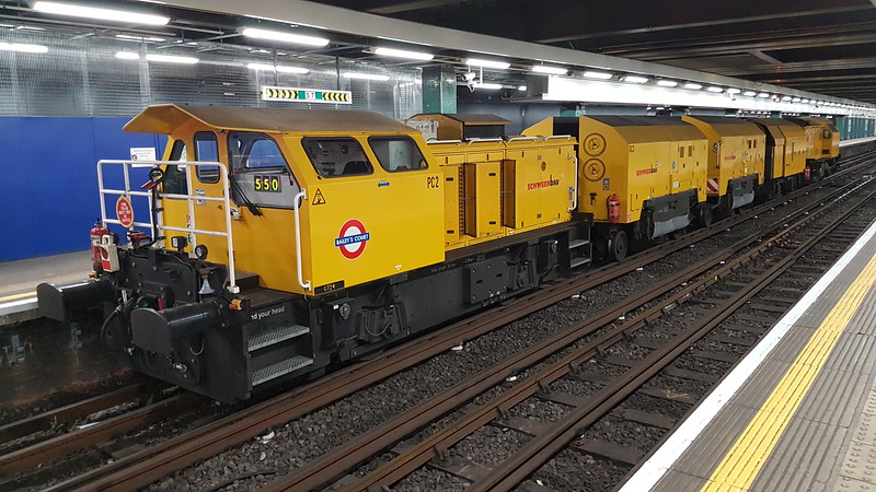 LUL rail grinder formed of 2 Schoma power cars and 3 trailers in Moorgate Met bay platforms. Nearest camera is PC2 (Power car 2, numbered 6724), then GC2 (Grinding Car 2), GC1 (Grinding Car 1), SC1 (Service Car 1, numbered 26001) then PC1 (Power car 1, numbered 6725). The unit had worked from Upminster Depot overnight Monday night and was stabling in the bays at Moorgate each day this week for overnight work in the area. Tuesday 10th January 2017.