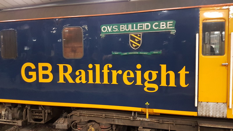 OVS Bullied CBE nameplate and crest on 73128 leading a snow and ice treatment train at London bridge, 3Y90 Tonbridge - Purley via Epsom and London Bridge (twice). Tuesday 20th March 2018.