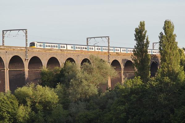 365518 crosses Welwyn Viaduct. Thursday 4th July 2019.