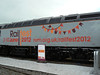 The advertising livery detail on the side of 56312 at Railfest at the National Railway Museum, 4th June 2012