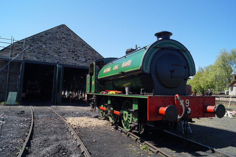Robert Stephenson & Hawthorns RSHN 7098 '49' outside the 1854 built  railway shed, the oldest railway shed still in use in the World, at the Tanfield Railway. Monday 14th May 2018.