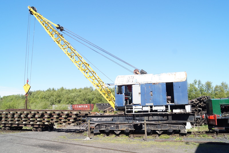 A Smith-Rodley crane and track panels, which were to be laid in the new shed at East Tanfield later that day at the Tanfield Railway. Monday 14th May 2018.