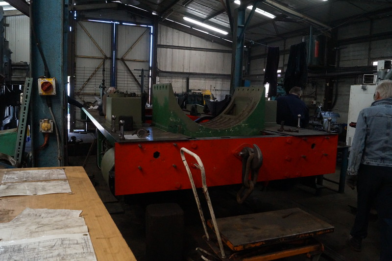 The frames of Andrew Barclay AB 1015 'Horden' being overhauled in the workshops at the Tanfield Railway. Monday 14th May 2018.