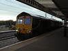 66727 leads 66739 on 0L57 Peterborough - Whitemoor passing Peterborough. Wednesday 10th July 2013.