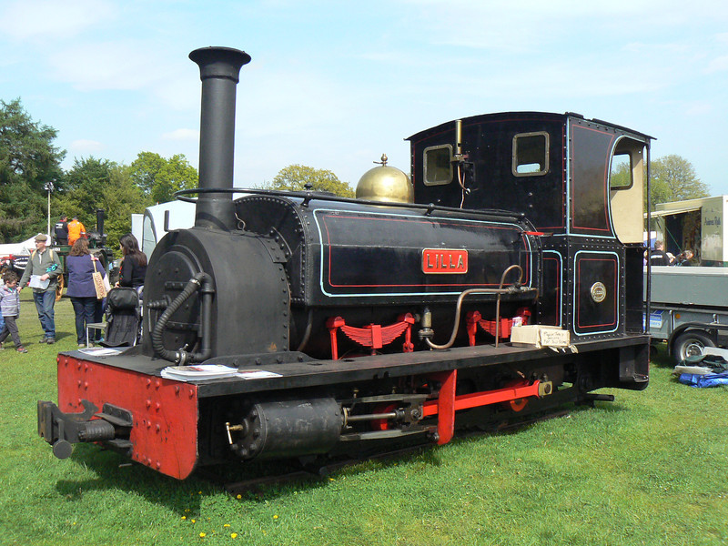 Hunslet HE 554 'Lilla' from the Lynton & Barnstable railway is seen visiting the Fawley Hill Steam and Vintage weekend event. 19th May 2013.