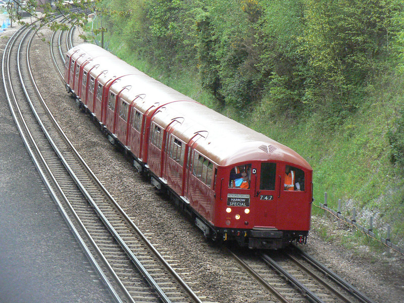 Preserved 1938 stock 11012, 12048, 012256 and 10012 head South at Chorleywood with the 11:38 Amersham - Harrow on the Hill - Amersham LU150/Rickmansworth Festival special. 19th May 2013.