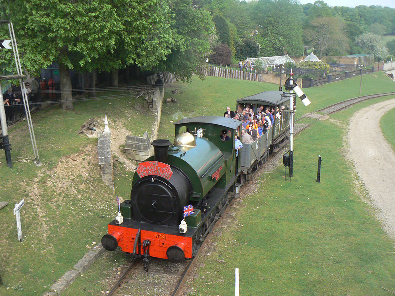 Another view of 'No. 31' Hudswell Clarke HC 1026 at the Fawley Hill Steam and Vintage weekend event from the station footbridge. 19th May 2013.