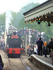 Celebrating it's 100th Birthday, 'Sir Robert McAlpine & Sons (London) Limited No. 31' Hudswell Clarke HC 1026 reverses out of the station past the watching crowds at the Fawley Hill Steam and Vintage weekend event. 19th May 2013.