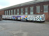 Heavily graffitied LUL cars 4319 and 3319 at Eastleigh Works. Sat 30th June 2012.