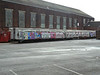 Heavily graffitied LUL cars 3219, 4319 and 3319 at Eastleigh Works. Sat 30th June 2012.
