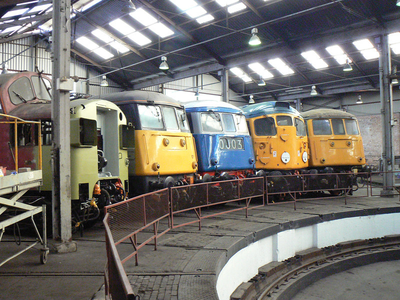 37057, 85101, 83012, 26007 and 81002 around the turntable at Barrow Hill Roundhouse. Saturday 30th January 2010.
