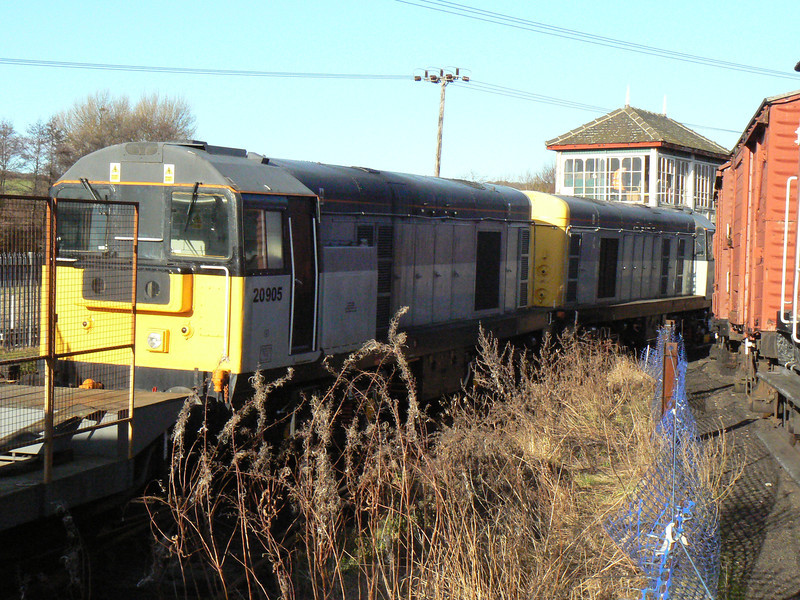 20905 and 20901 at Barrow Hill Roundhouse. Saturday 30th January 2010.