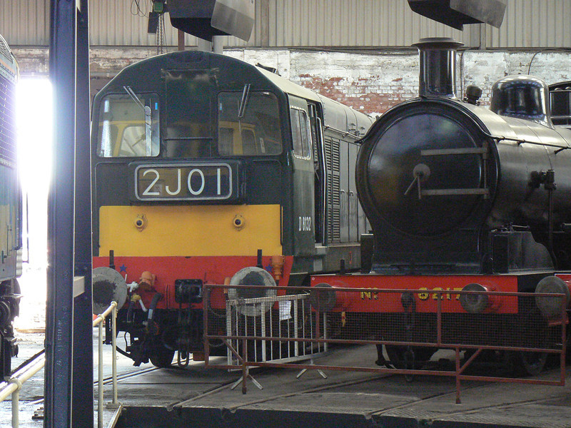 D8132 and 8217 at Barrow Hill Roundhouse. Saturday 30th January 2010.