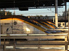 A busy set of platforms at St Pancras early morning, with 3014 and three other eurostars. 12th May 2012.