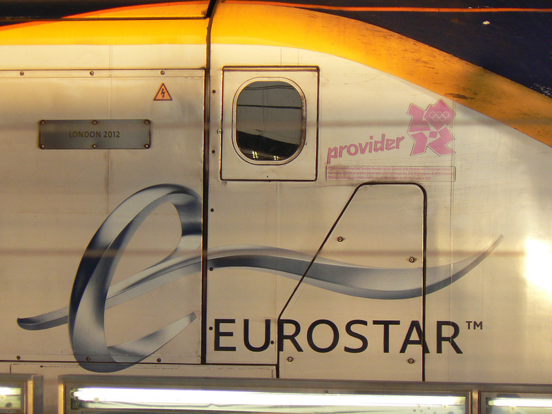 The London 2012 nameplate and details on Eurostar 3014 at St Pancras. 12th May 2012.