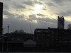 The South London skyline, dominated by the 'Strata tower' in Elephant & Castle is seen against a winter setting sun. 29th December 2011