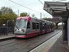 West Midlands network pink liveried Birmingham metro tram '05' at The Hawthorns. Saturday 29th October 2011