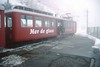 5 May 2002 :: On a wet day with low cloud, a Chemin de fer du Montenvers railcar is seen at Montenvers