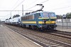 11 October 2003 :: An unusual working is seen at Aalter with SNCB No. 2753 leading a Midland Main Line Class 222 Meridian being delivered to the UK on it way to the Channel Tunnel