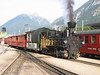 """8 July 2004 ::  0-6-2T Zillertalbahn No. 2 """"Zillertal"""" leads a train away from Jenbach heading for Mayrhofen with the Zillertal Bier special coach just behind the locomotive"""