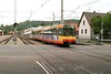 1 May 2004 :: Karlsruhe Stadtbahn is a tram-train system and on line S1 no. 577 is pictured at Ettlingen