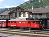 18 May 2004 :: De 110 001-5 in front of the station building at Meiringen.  These De locomotives are electric baggage vans and were formerly rack fitted and have been rebuilt for push pull work on the adhesion sections of the Brünig line