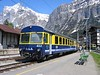 20 May 2004 :: In the new Berner Oberland-Bahn livery no. 411 waits at Grindelwald to form the next service to Interlaken Ost