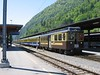 "17 May 2004 :: Berner Oberland Bahn ABeh 4/4 no. 307 ""Wilderswil"" still in the brown and cream livery stands at Interlaken Ost waiting to depart to Lauterbrunnen"