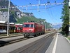 18 May 2004 :: HGe 4/4II, 101 961-1 is running round its coaching stock at Meiringen where the train changes direction