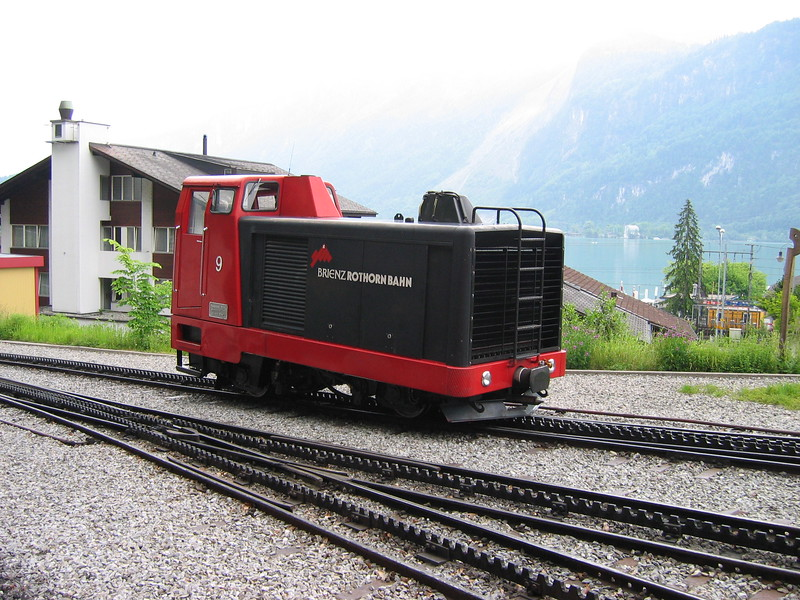 5 June 2004 :: Brienz Rothorn Bahn diesel Hm 2/2  no. 9 is waiting at Brienz.  Lake Brienz is in the background