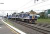 11 April 2005 :: Three CFCLA GL Class Co Co GL112 + GL111 + GL 103 lead an eastbound intermodal train through Canterbury NSW