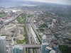 24 May 2005 :: A view looking west from the CN Tower in Toronto with 7 Government of Ontario (GO) trains parked up in sidings