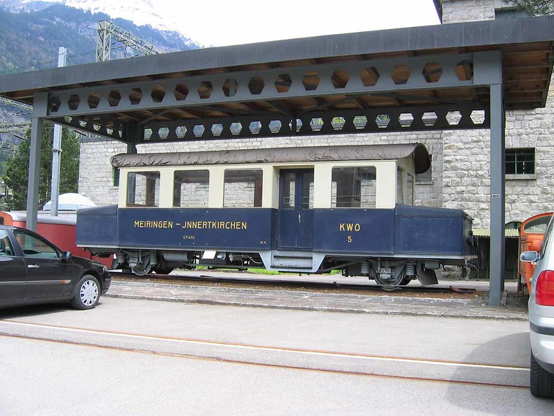 9 May 2005 :: Battery railcar of the Meiringen–Innertkirchen Railway (MIB) on a plinth outside the MIB workshops at Innertkirchen. This was built in 1949 and operated until 1977