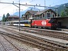 19 June 2005 :: SBB liveried HGe 101 965 stands at Meiringen waiting for the locomotive to run round the train