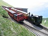 22 June 2005 :: At the summit station of the Brienz Rothorn is Hm 2/2 diesel no. 9 and 0-6-0 H11/3 steam locomotive no. 15