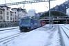 16 January 2006 :: Rhätische Bahn (RhB) SwissCom liveried Ge4/4iii is pictured departing from Chur