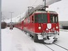 """18 January 2006 :: RhB Ge 4/4ii no. 630 """"Trun"""" is pictured in the falling snow at Sagliains"""