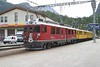 """19 September 2006 :: At Pontresina the usual change of locomotive is taking place for the Bernina Express, the 0828 from Chur to Tirano.  Approaching the coaching stock is ABe 4/4ii no. 52 """"Brusio"""" along with 2 vintage ABe 4's (which date from 1908 - 11 and are now used for works duties and as reserve power which we were lucky enough to have on our train today! )"""