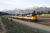 "12 May 2007 :: Train 1 ""The Canadian"" rolls very slowly into Jasper running about 280 mins late with 4 Via Rail F40PH-2's leading the train, 6453 + 6441 + 6439 + 6433"
