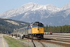 12 May 2007 :: A different view of Via Rail F40PH-2 no. 6449 at Jasper highlighting the magnificent Rocky Mountains behind the train