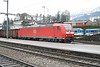 26 February 2007 :: After competing the whole Rigibahnen route and arriving at Art-Goldau a passing freight train led by DB  185 127 trundled through the station