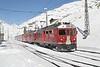 "27 February 2007 :: RhB  ABe 4/4ii no. 54 ""Hakone"" departs from Ospizio Bernina on its way to Tirano"