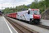4 May 2007 :: RhB Ge 4/4 III  no. 650 in the new UNESCO livery calls at Filisur with a train for St. Moritz